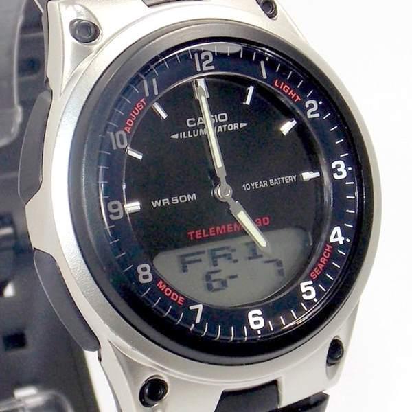 Aw-80-1av Relógio Casio Analógico Digital Agenda Telefonica WR50  - E-Presentes