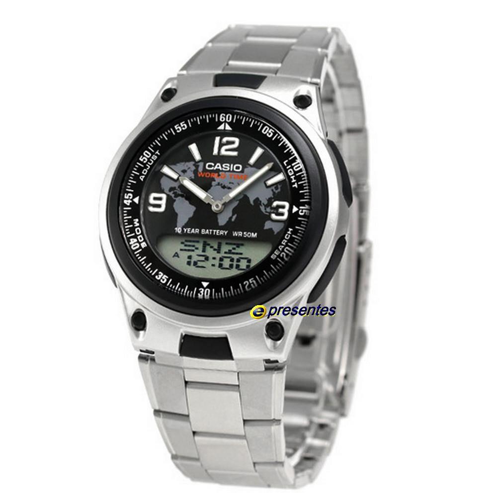 AW-80d-1a2vdf Relógio Casio AnaDigi Pulseira de Aço 3 Alarmes wr50  - E-Presentes