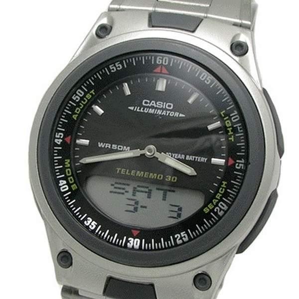 Aw-80d 1av Relógio Casio Anadigi 3Alarmes Agenda WR50 AÇO  - E-Presentes