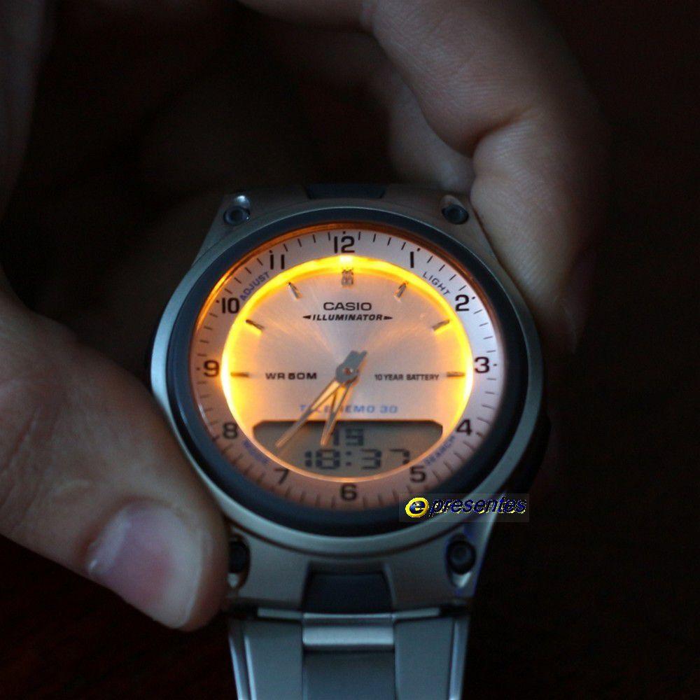 AW-80D-7ARelógio Casio AnaDigi Pulseira de Aço 3 Alarmes wr50  - E-Presentes