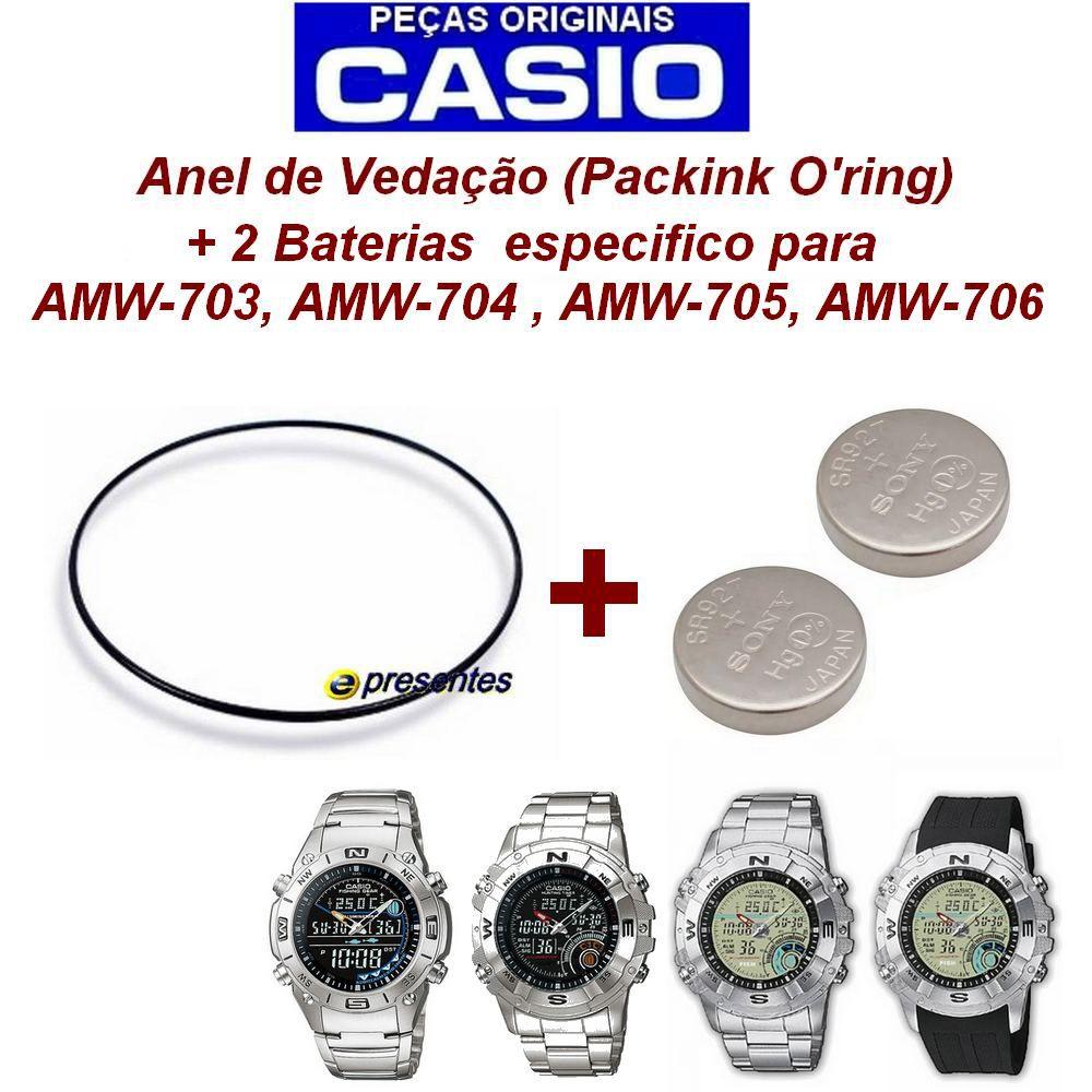 Bateria + Anel de Vedação Casio AW-702, AMW-703, AMW-704, AMW705, AMW 706  - E-Presentes