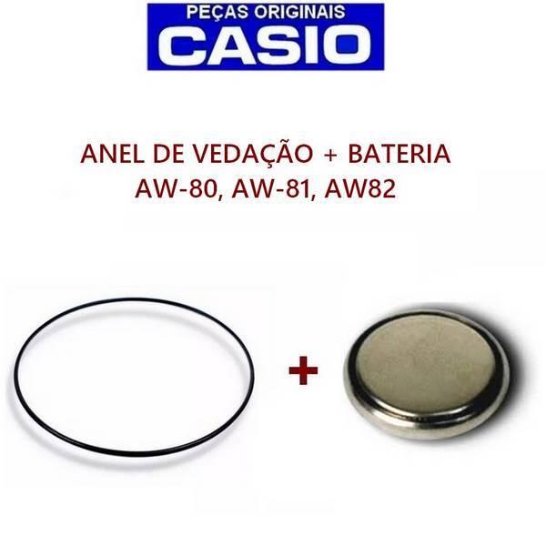 Bateria + Anel de Vedação Casio AW-80, AW81, AW-82   - E-Presentes