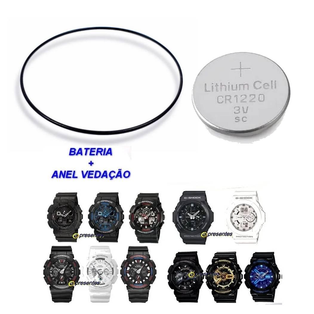 Bateria + Anel de Vedação Traseiro Casio G-Shock GA-100, GA-110, GA-120, GA-201, GA-150  - E-Presentes
