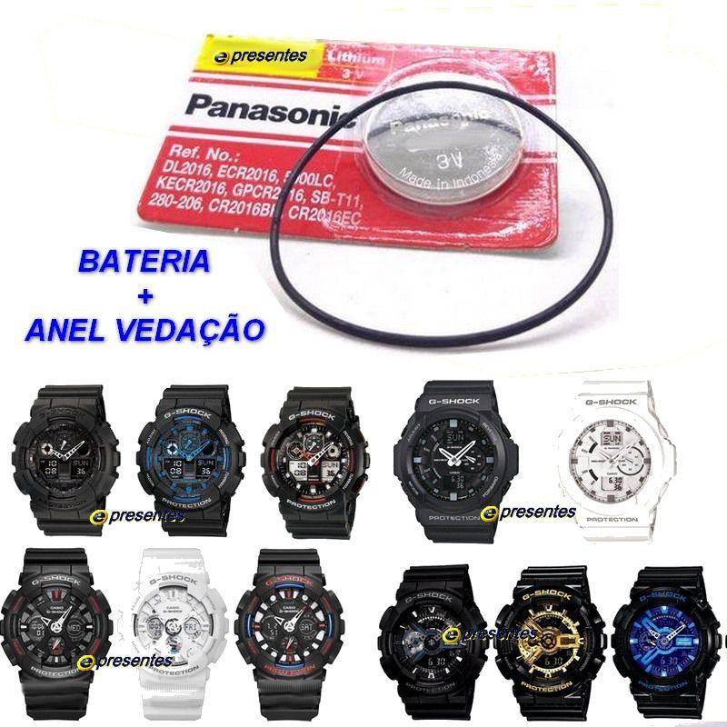 1a8228b6b7e BATERIA + ANEL Vedação Casio G-Shock GA-100 GA-110 GA-120 GA-201 GA-150 ...