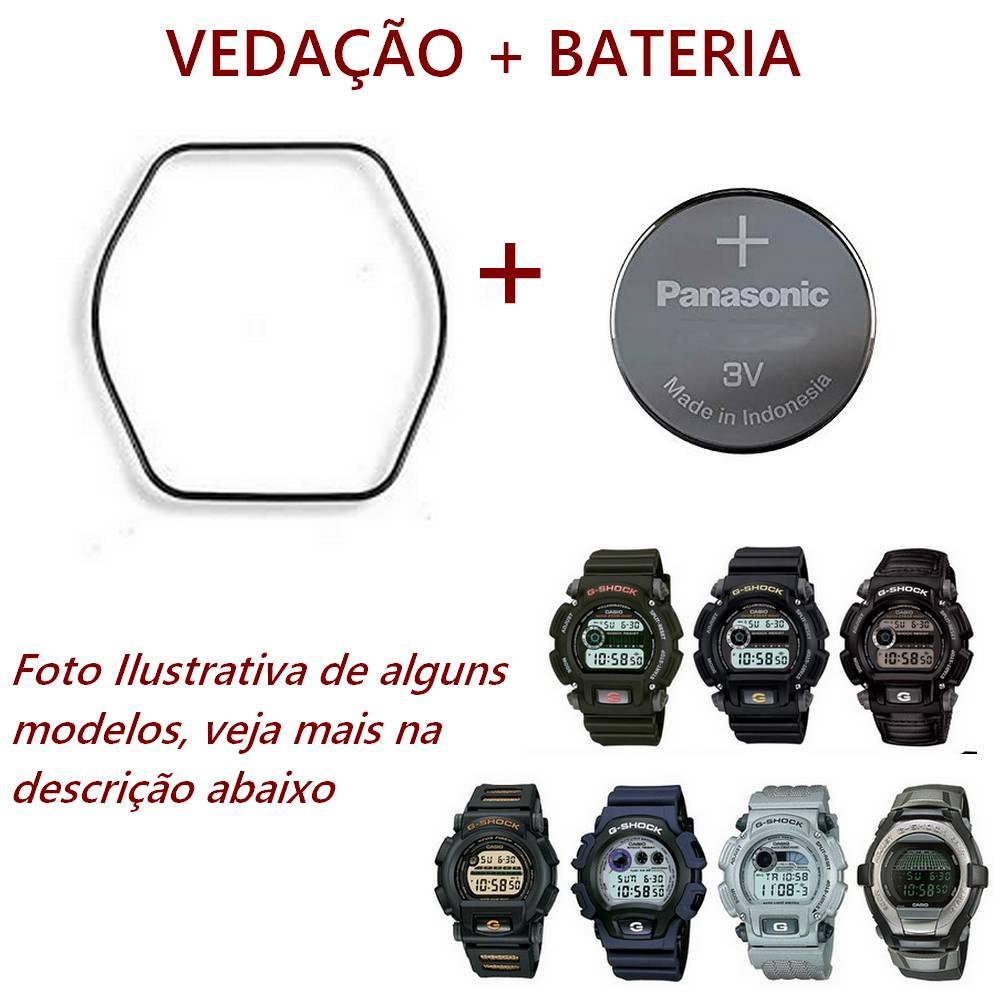Bateria + Vedação Casio G-shock DW-9052 G-2200, G-2210, DW-004   - E-Presentes
