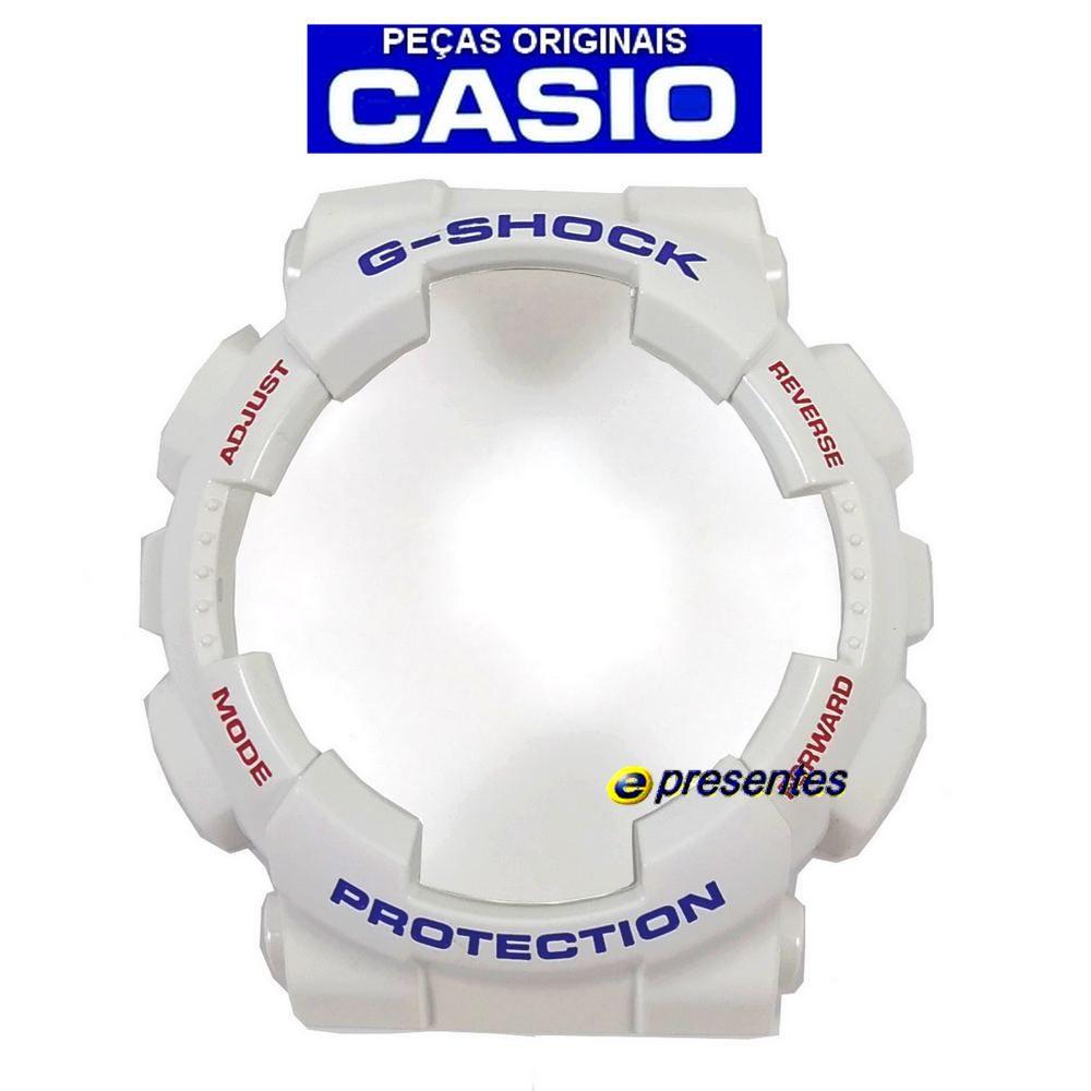 Bezel Casio G-shock GA-100CS-7A Branco Brilhante *  - E-Presentes