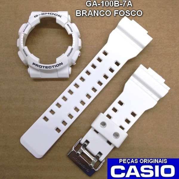Bezel + Pulseira Casio G-shock Branco Fosco Ga-100B-7A  Ga-110  - E-Presentes