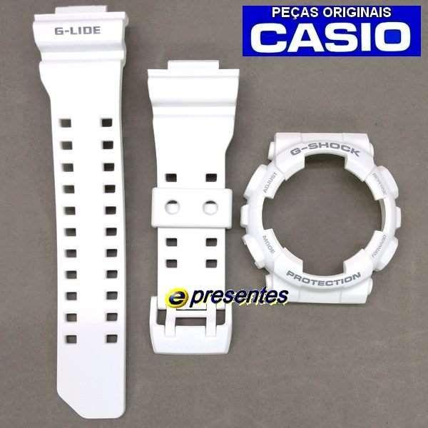 Bezel + Pulseira Casio G-shock Branco Fosco GAX-100A-7A  - Alexandre Venturini