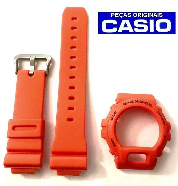 Bezel + Pulseira Casio G-Shock DW-6900mm-4 LARANJA FOSCO   - E-Presentes