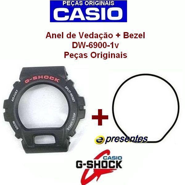 Bezel + Vedação G-shock Dw-6900-1V DW-6600 Serie Prata   - E-Presentes