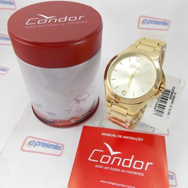 Co2035KoK/4X Relógio Feminino Condor Dourado 42mm largura  - E-Presentes