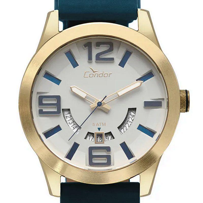 CO2115KTY/2C  Relógio Masculino Condor Dourado 45mm Pulseira Couro wr50  - E-Presentes