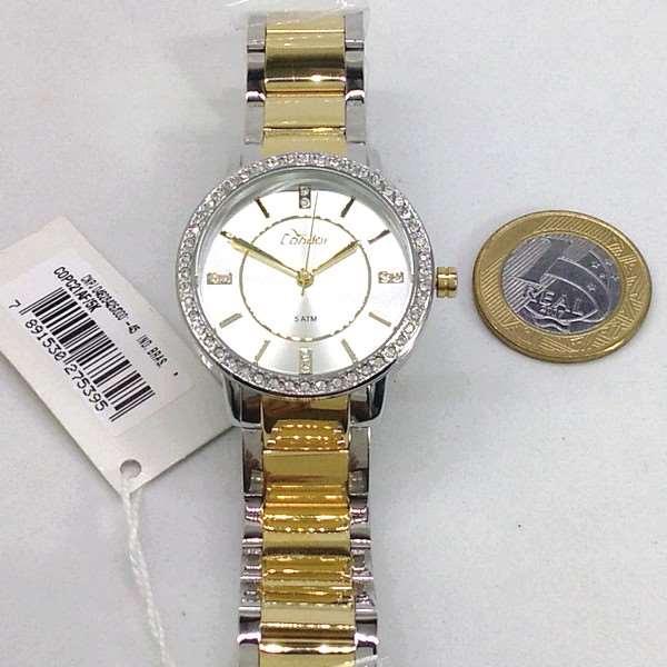 COPC21AF/5K Relógio Feminino Condor Dourado Prateado c/ Strass  - E-Presentes
