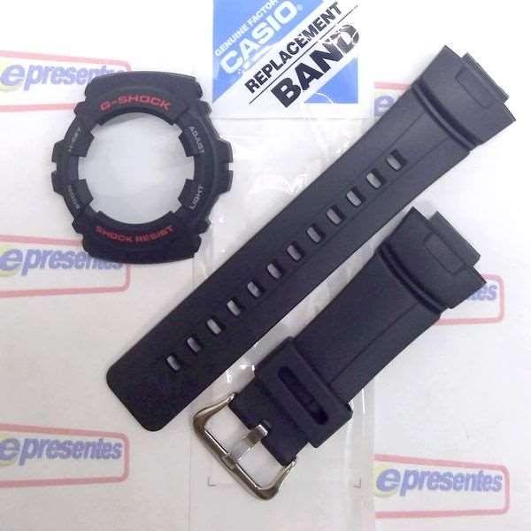 Kit  Pulseira + Capa Bezel Casio G-shock G-100 G-101 Preto - 100% Original  - E-Presentes