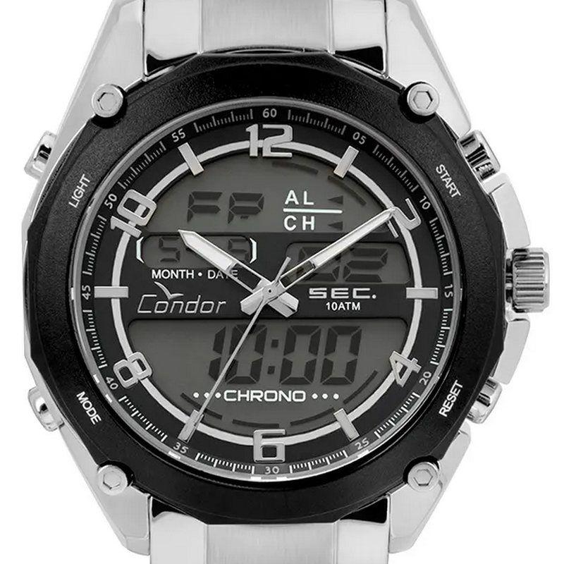 COY121E6AC-3P  Relógio Masculino Condor Ana-Digi Aço Inox Luz WR100  - E-Presentes