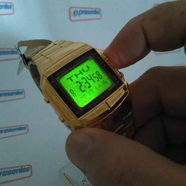 DB-360G-9A Relógio Casio Databank Dourado Unissex Vintage  - E-Presentes