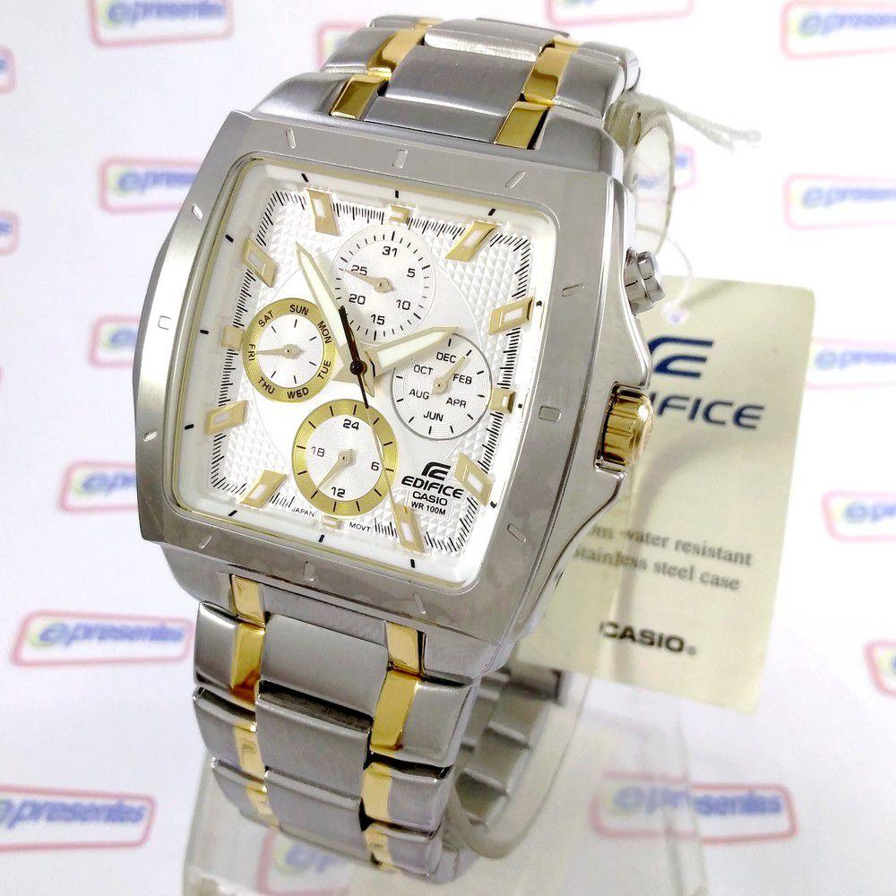 EF-329SG-7A Relógio Casio Edifice Quadrado Aço - 100% Original  - E-Presentes
