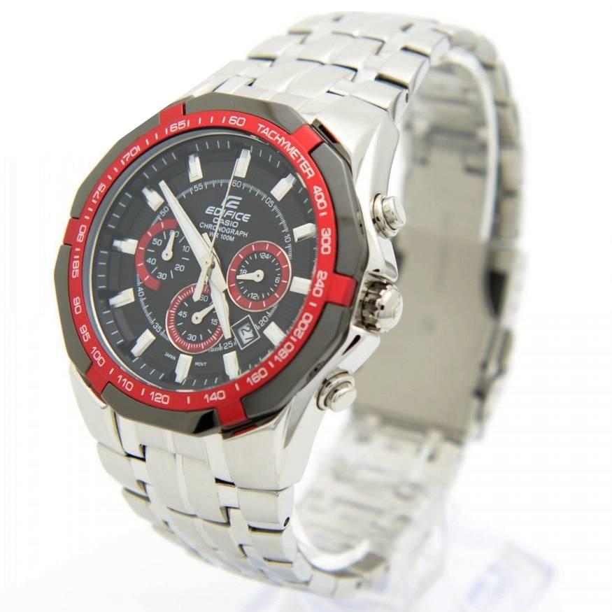 Ef-540d-1a4 Relogio Edifice Casio Watch Aço inox,. fundo vermelho  - E-Presentes