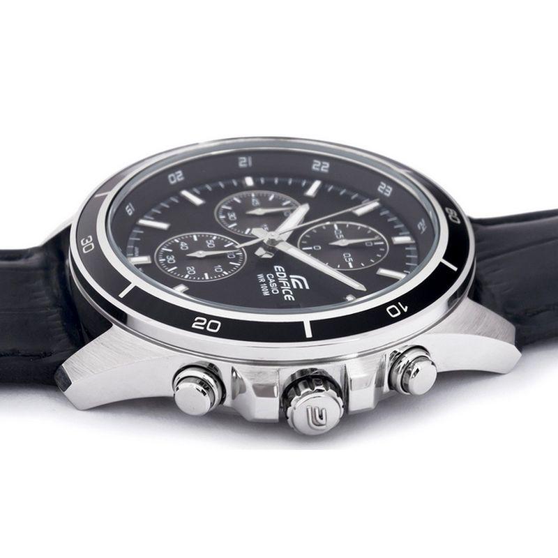 EFR-526L-1a Relogio Casio Edifice Cronografo Aço Pulseira Couro Preto WR100  - E-Presentes