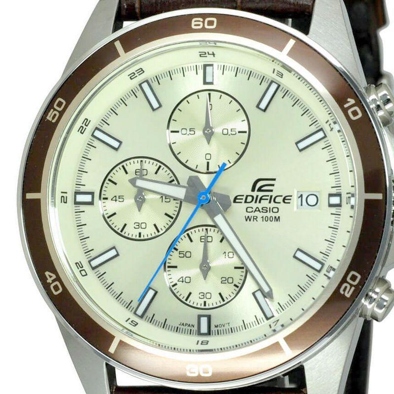 EFR-526L-7B Relogio Casio Edifice Cronografo Aço Pulseira Couro Marrom WR100  - E-Presentes