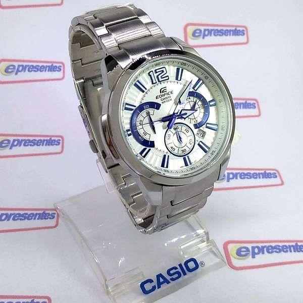 EFR-535D-7a2 Relogio Casio EDIFICE CRONOGRAFO Aço Branco/ Azul   - E-Presentes