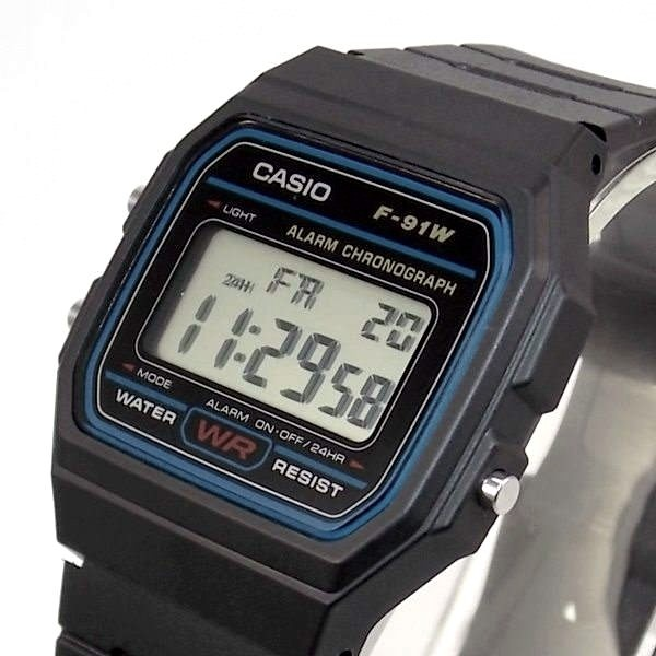 F-91w-1dg Relogio Casio Digital Retrô Vintage 100% Original  - E-Presentes