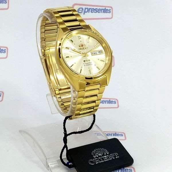 FAB00002C9 Relogio Automático Orient 21 Jewels Pulseira Aço Dourado 37mm  - Alexandre Venturini