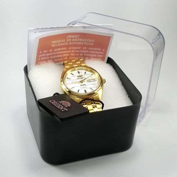 FAB00008W9 Relogio Automático Orient 21 Jewels Pulseira Aço Dourado  - Alexandre Venturini