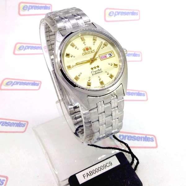 FAB00009C9  Relogio Masculino Orient Automático 21rubis 37mm CHAMPAGNE  - E-Presentes