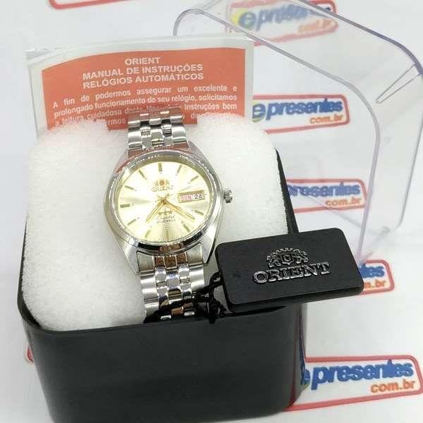 FAB0000AC9 Relogio Masculino Orient Automático 21rubis 37mm Champagne *  - E-Presentes
