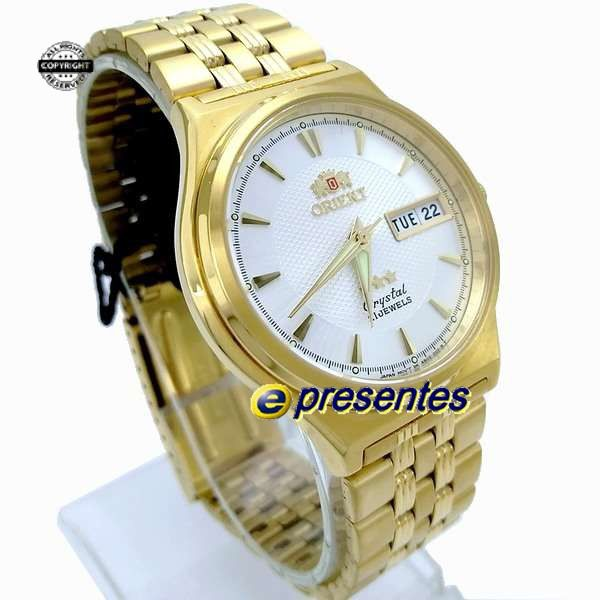 FAB02001W9 Relogio Automático Orient 21 Jewels Pulseira Aço Dourado  - E-Presentes