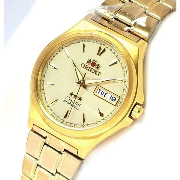 FAB02002C9  Relogio Automático Orient 21 Jewels Pulseira Aço Dourado  - E-Presentes