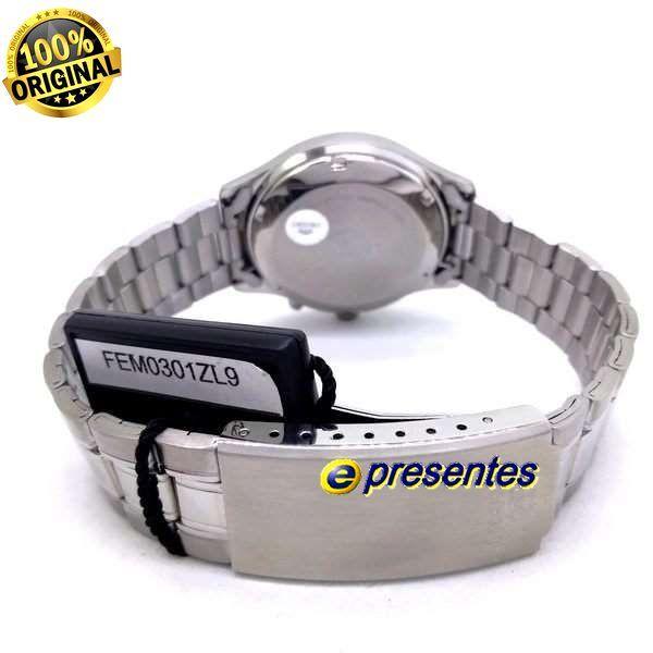 FEM0301ZL9 Relógio Masculino Orient Automatico Prateado 36mm Autentico  - E-Presentes