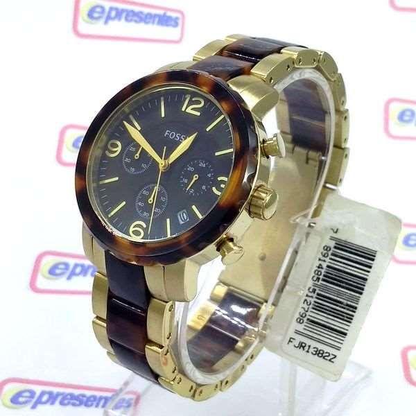 2b9ddb6a2de FJR1382Z Relógio Fossil Dourado Cronografo Feminino wr50 Original -  E-Presentes