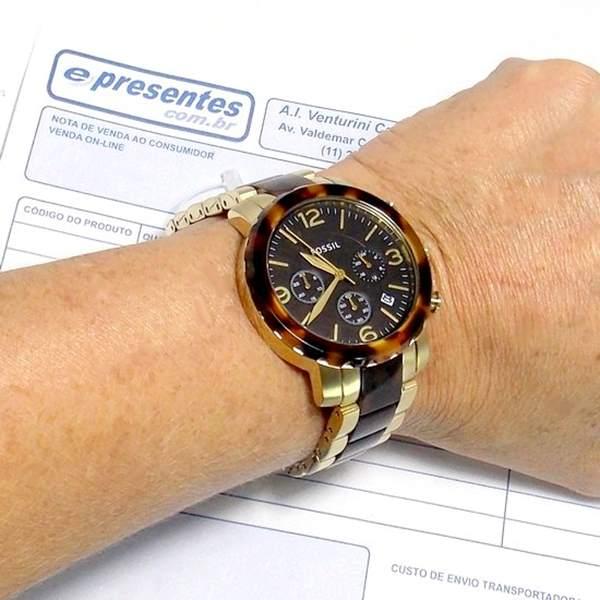 7b16f2c7409 FJR1382Z Relógio Fossil Dourado Cronografo Feminino wr50 Original - E- Presentes
