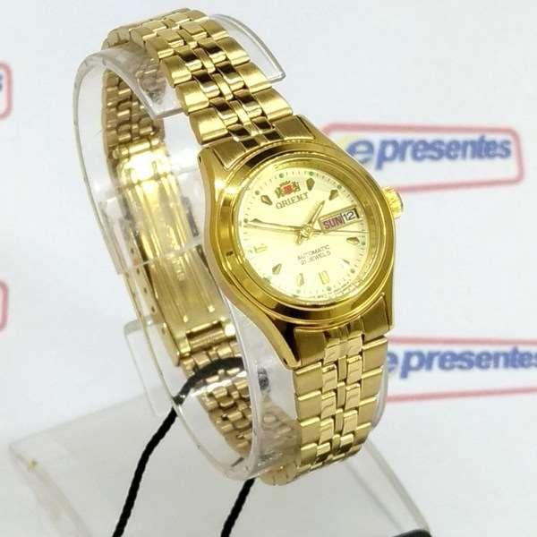 3826fdf3795b6 ... Fnq0400bc9 Relógio Feminino Orient Mini Automatico Dourado - E-Presentes