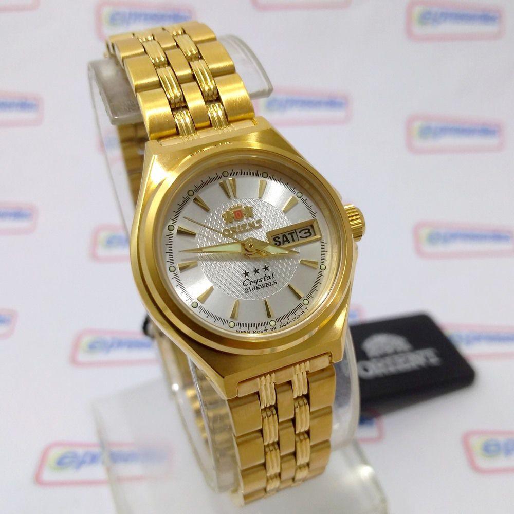 2572fcbf143 FNQ1S001W9 Relógio Feminino Orient Mini Automatico Dourado 25MM - E- Presentes