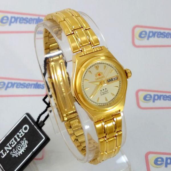 2906c95802b96 FNQ1S002C9 Relógio Feminino Orient Mini Automatico Dourado 24MM - E- Presentes