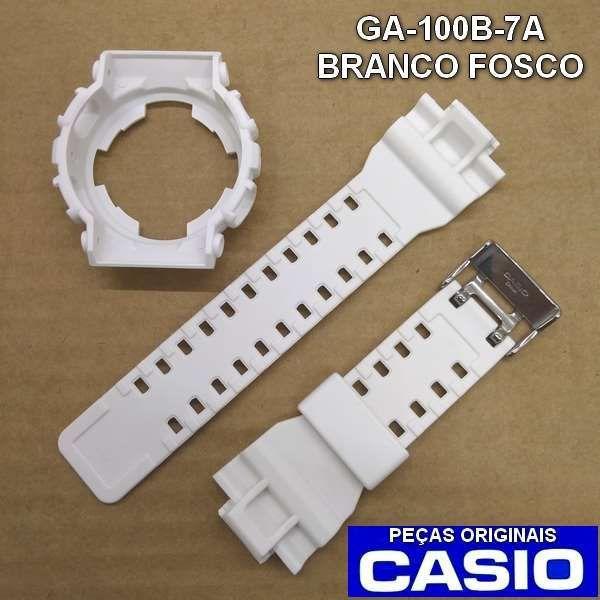 Pulseira + Bezel GA-100B-7A Casio G-shock Branco Fosco  - E-Presentes