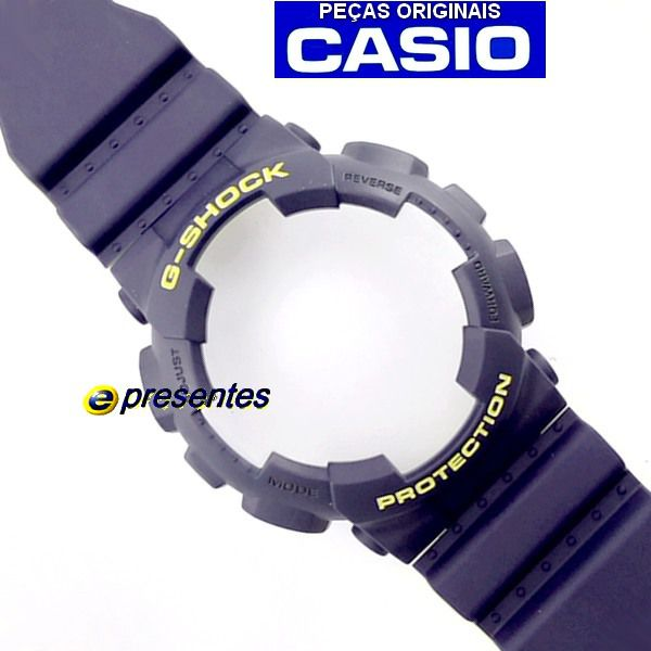GA-110LN-2A Bezel + Pulseira Casio G-shock Azul Fosco / Amarelo  - E-Presentes