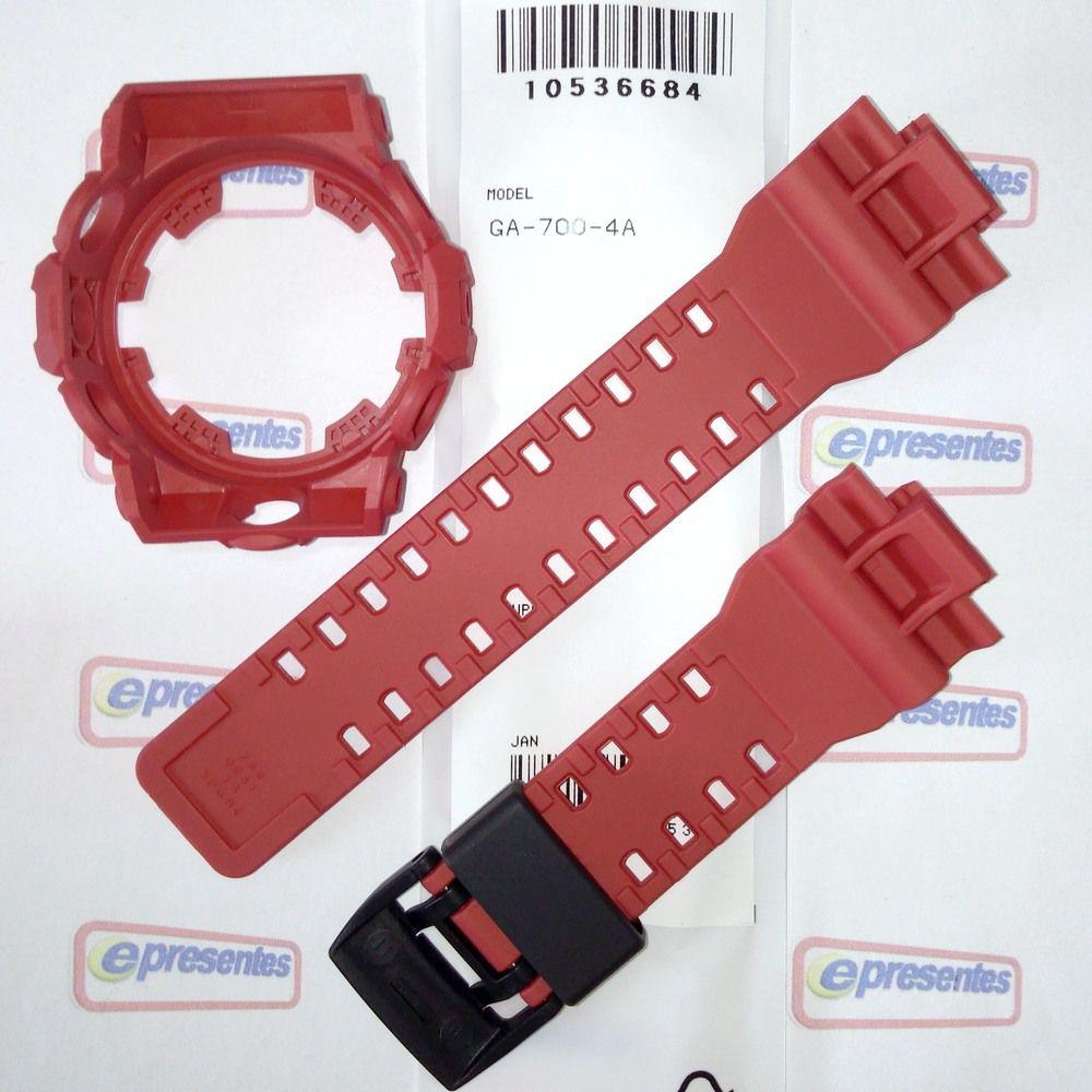 GA-700-4a Pulseira e Bezel Casio G-shock Resina Vermelha   - E-Presentes