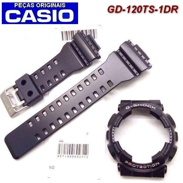GD-120TS-1 Pulseira + Bezel Preto Semi Brilhante Letras Prateadas  - E-Presentes