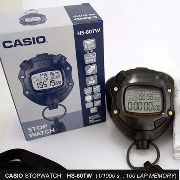 HS-80TW Cronômetro Digital Profissional CASIO, Prova dágua  - E-Presentes