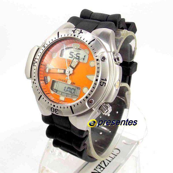 JP1060-01Y Relógio Citizen Aqualand Ii Profundìmetro TZ10020Y  - E-Presentes