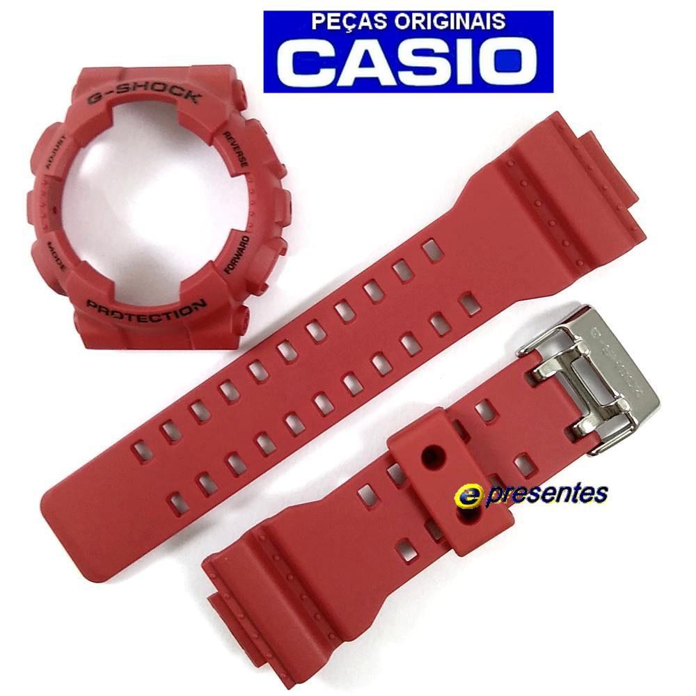 """Kit Pulseira + Bezel Capa Casio G-shock vermelho Ga-100b-4 / ga-110fc """"Original""""  - E-Presentes"""