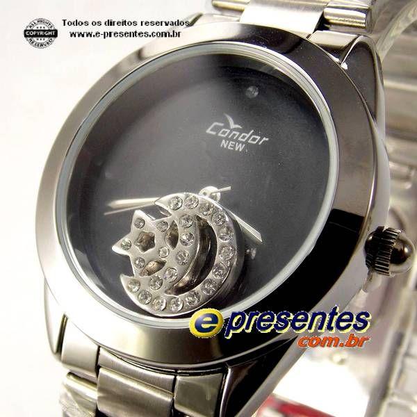 Kw25659p Relógio Condor Feminio Pingente Lua Estrela Strass  - E-Presentes