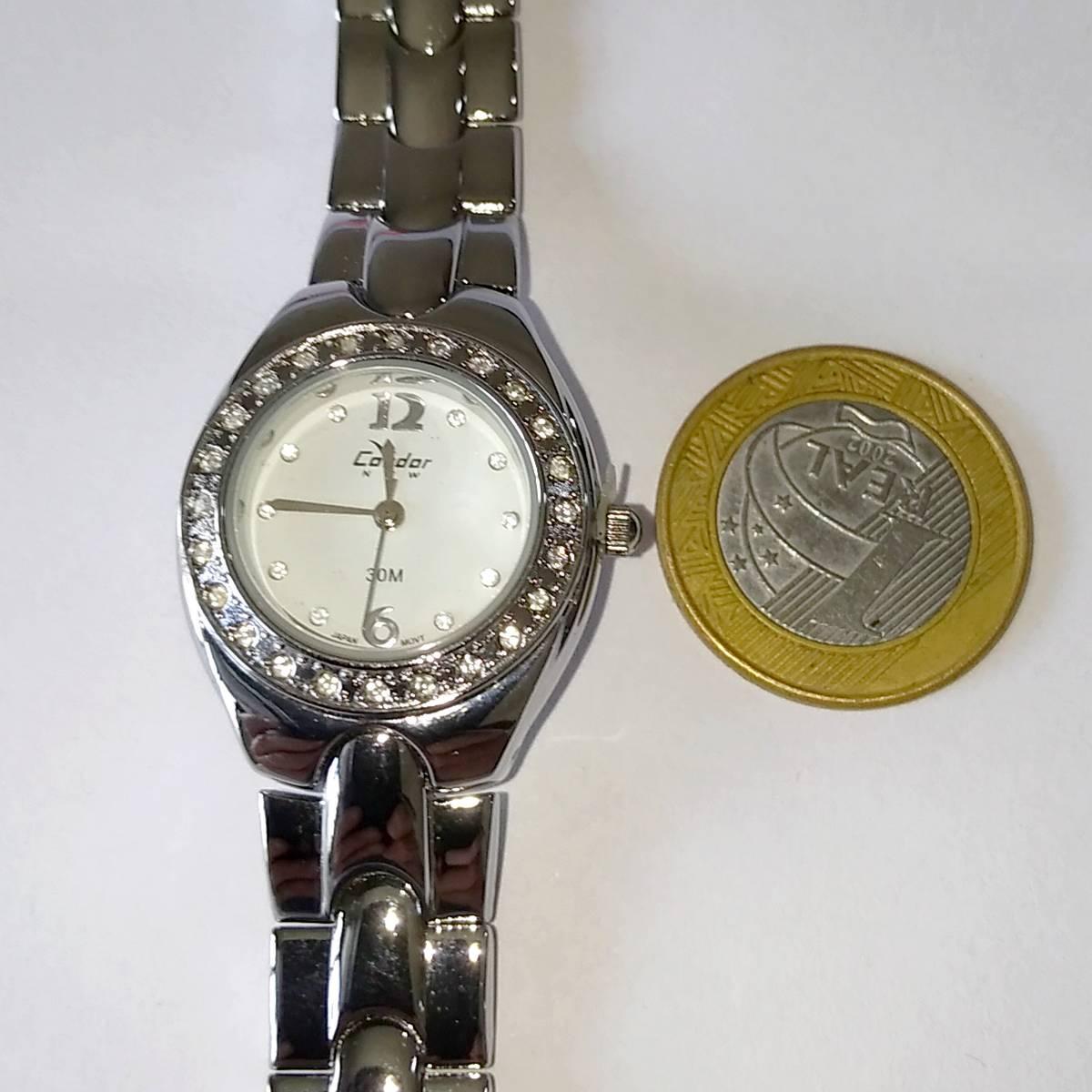 KW25917B Relógio Feminino Condor New Pequeno Metal Prateado c/ Strass  - E-Presentes