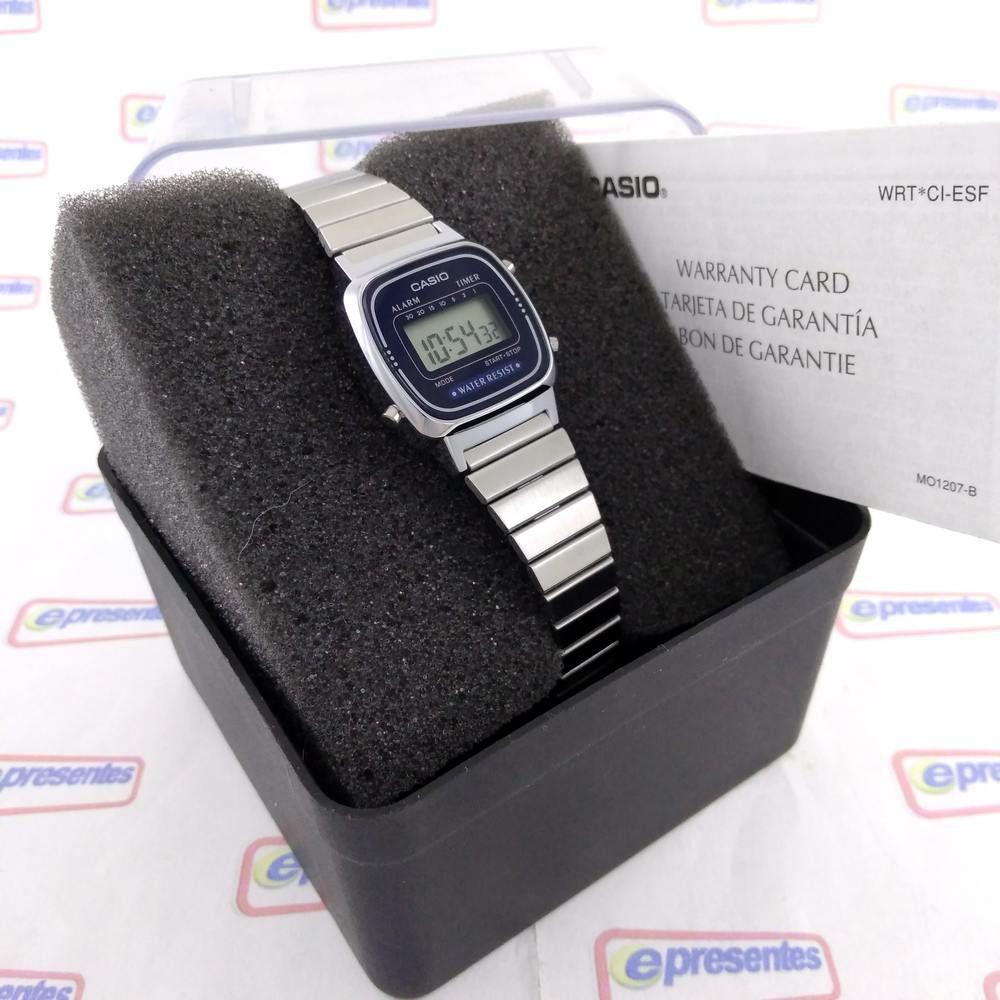 La670wa-2df Relogio Feminino Casio Mini Prateado/ Azul Serie Retro  - E-Presentes