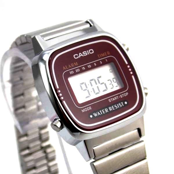 La670wa Relógio Casio Mini Prateado Vinho 100% Original  - E-Presentes