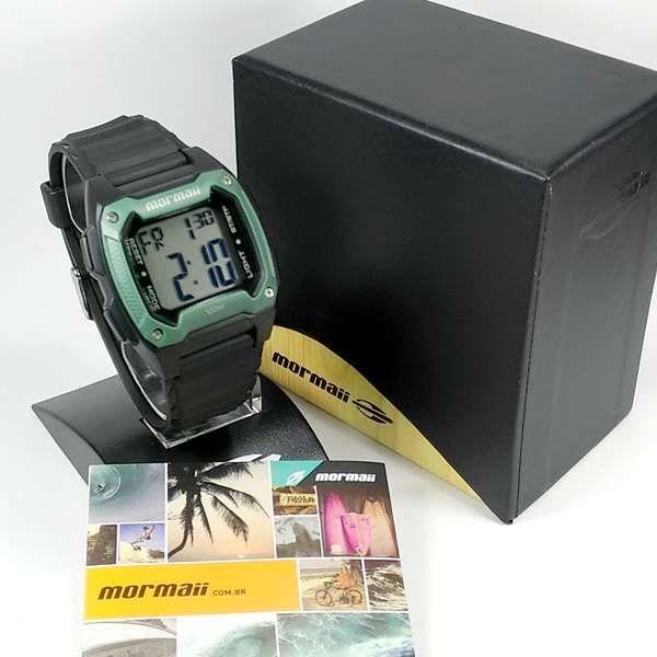 MOY1516/8V Relógio Mormaii Digital quadrado Preto/Verde WR100 metros  - E-Presentes